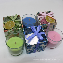 color wax 160g paraffin/soy wax scented candle in glass cup in gift box