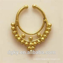 Hot selling gold plated tribal brass jewellery fake septum jewelry