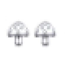 Women 925 Sterling Silver Fashion Cute Inlay Crystal Mushroom-Shaped Earrings