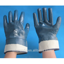 cotton woven interlock or jersery lined fully coated nitrile with safety cuff