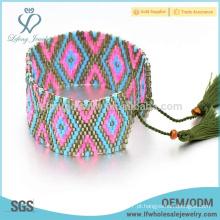 Bohemian semente design bead wrap pulseira, as mulheres frisado pulseira franja