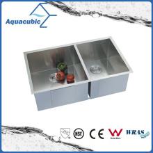 Upc doble tazón de acero inoxidable hecho a mano fregadero de la cocina (ACS 3320A2)