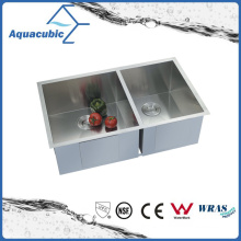 Upc Double Bowl Stainless Steel Handmade Kitchen Sink (ACS 3320A2)