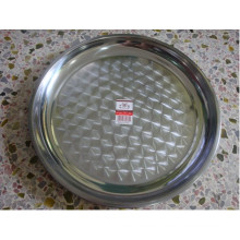 Round Shape with Flower Print Stainless Steel Tray
