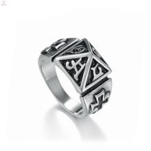 Declaración vintage sello de acero inoxidable Cruz pirámide anillos