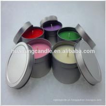 Vela de estanho votiva colorida perfumada de soja