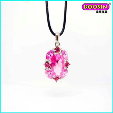 Manufacturer Wholesale High Quality Leather Big Crystal Pendant Necklace