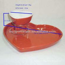 Hot Sell Heart shape ceramic chocolate fondue set for BS12093R