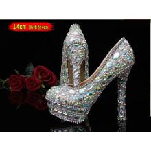 Nova coleção de diamantes de casamento sapatos de salto alto das senhoras (hcy02-1534)