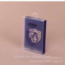 Fabricants personnalisés PVC boîte d'emballage transparent animal de compagnie vert ruban en plastique suspendus boucle boîte en plastique