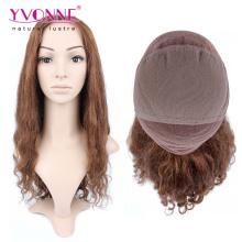 Couleur # 4 perruque de cheveux humains brésiliens pleine dentelle