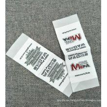 Etiqueta tejida de la tela de la prenda superficial suave baja de MOQ con el final que dobla