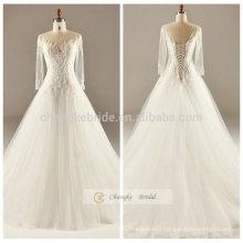White Lace Appliqued A-line Wedding Dress Long-Sleeve Back Lace Up Wedding Dress