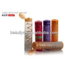 Tubos PE cosméticos com tampa superior de filp