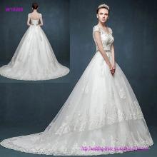 China Factory Direct Vintage Retro Bag Shoulder V Neck Wedding Dress