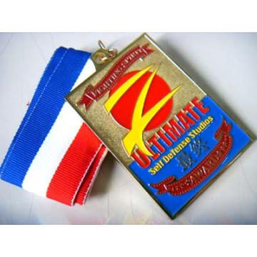 Médaille d'émail doux rectangulaire personnalisé en alliage de zinc avec ruban