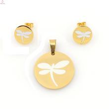 Conjuntos de jóias libélula venda quente, brinco de aço inoxidável 316l e conjuntos de medalhão para as mulheres