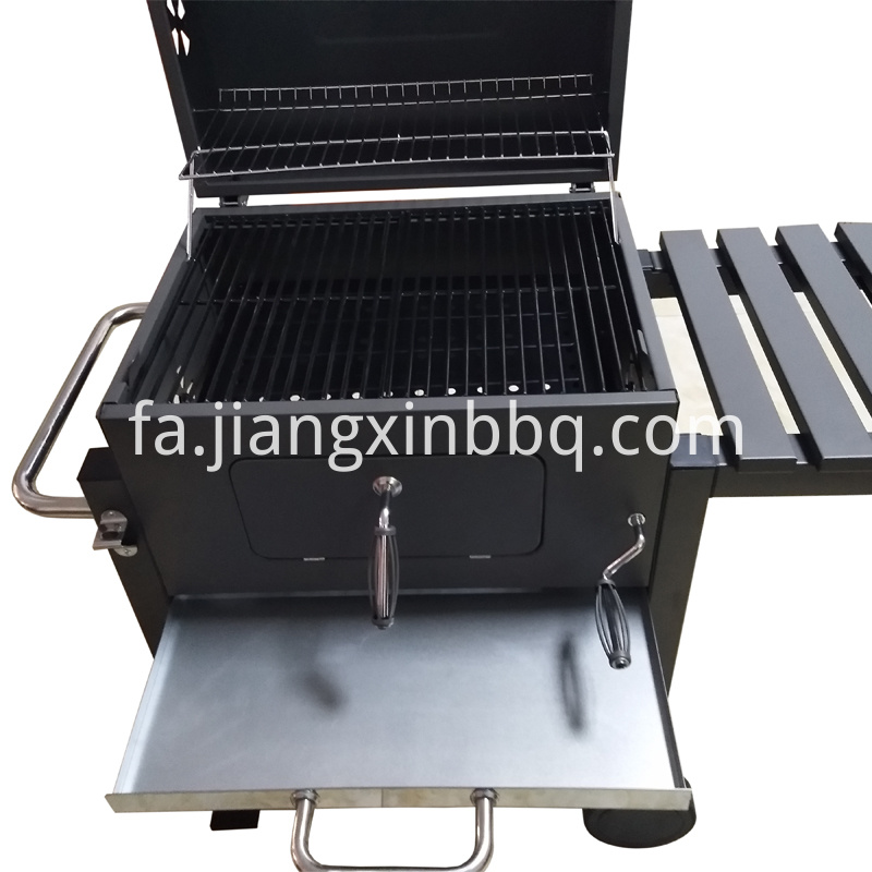 Smoker Charcoal Grill with Trolley Drawer Open View