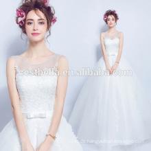 Nach Maß 2016 schöne niedrige V-Rückseite Spitze-Hochzeits-Kleid-Brautkleider
