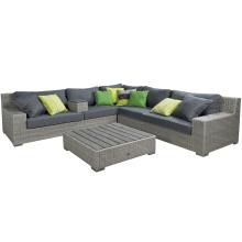 Conjunto de sofá de pátio jardim Rattan vime mobília ao ar livre