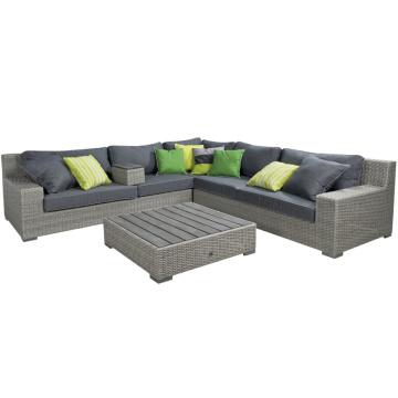 Sofá de jardín Rattan mimbre Patio muebles al aire libre del sistema