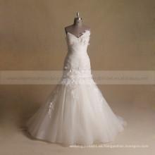 Graceful Mermaid Sweet Heart plisado Bottom ORG vestido de novia con flores hechas a mano