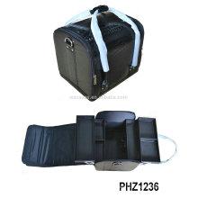 popular preto saco cosmético do PVC com padrão de croco e 4 bandejas removíveis dentro vendendo bem na Europa e EUA