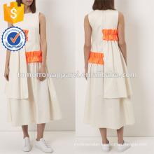 New Fashion Off White Midi Dress With Frills Manufacture Wholesale Fashion Women Apparel (TA5233D)