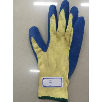 Blue Latex Palm Coated Wrinkle Domestic Para Aramid Gloves