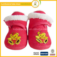 2015 wholesale soft sole cute bear pattern hand made newborn fabric baby shoes