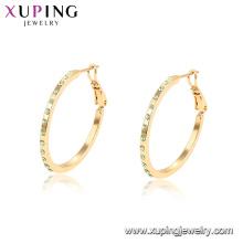 96903 xuping 18k cor do ouro strass moda brincos de argola para as mulheres