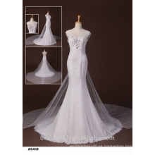 Vestido de novia sin tirantes del vestido de boda del hombro de la envoltura del tren de Watteau TS167