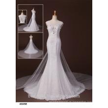 Bainha de noiva Off-The-Shoulder Vestido de noiva sem alças Vestido de noiva com trem Watteau TS167