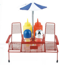 5pcs fancy BBQ condiment set with beach umbrella