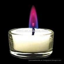 Vela de luz de té de llama coloreada