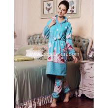 Women's Long Hoodie Dress Pajama Suit