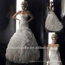 Милая Вышивка Блестками Ярусный Мятые Длина Пола Свадебное Платье Свадебное Платье
