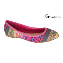 Women′s Stripe Printed Canvas Flat Ballet Shoes