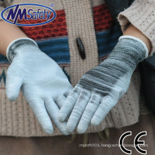 NMSAFETY cheap pu coated gloves en388 13 gauge mix knitted two colors nylon liner plam coated white pu glove