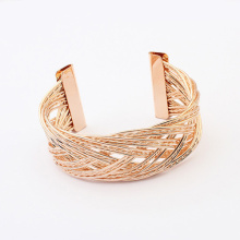 Gold plated metal braided cuff bracelet C shape bangle wholesale