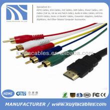 Varón de HDMI de calidad superior al cable audio video del audio 5RCA 5 pies 1.5M