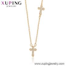 44528 xuping atacado moda jóias religião colar de cor 18 k cruz de ouro com pedra