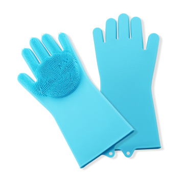 Silicone Gloves with Cleaning Brush Scrubber
