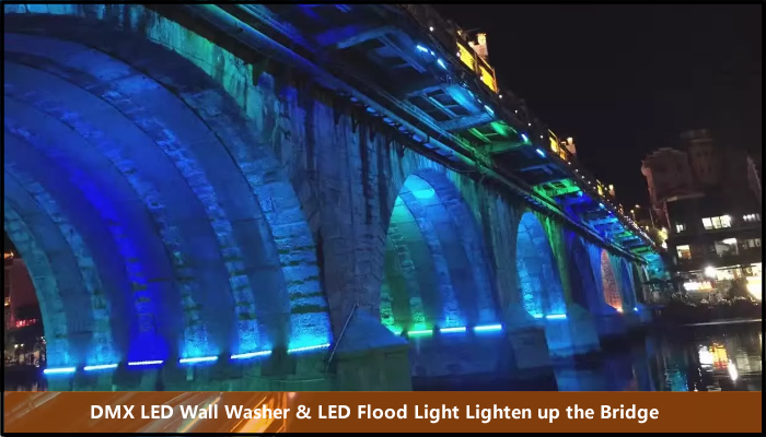 wall washer flood light lighten up the bridge