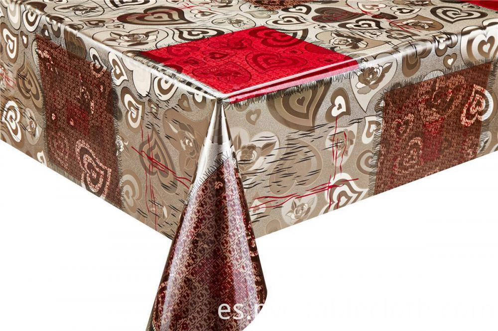 Silver Gold Emboss Fabric Tablecloth 1