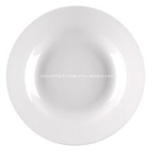 Assiette creuse porcelaine bordés de 9 pouces, 23 cm