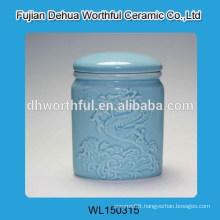 Elegant ceramic blue sugar canister with dragon figurine
