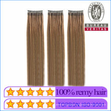 Human Hair Virgin Hair Brown Double Strands Dyed Micro Ring Hair Extensions Remy Hair with Screw Thread