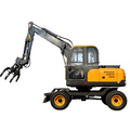 High Quality Farming Chinese Hydraulic Grapple 8.5 Ton Wheel Excavator For Sale