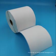 Rollo de etiqueta de código de barras blanca térmica en blanco